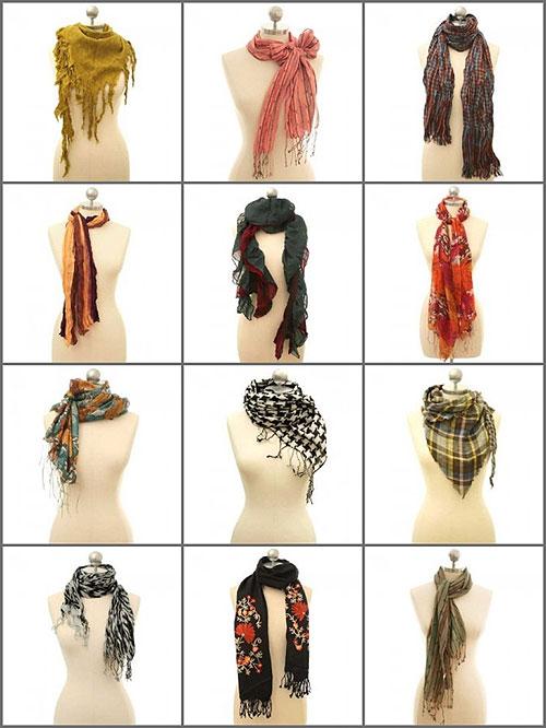 Способы завязывания шарфов на шее - фото