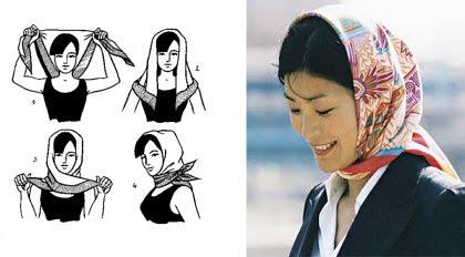 способы завязывания платка на голове