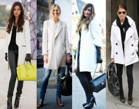 с чем сочетается белое пальто