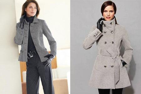 на фото стильное серое пальто
