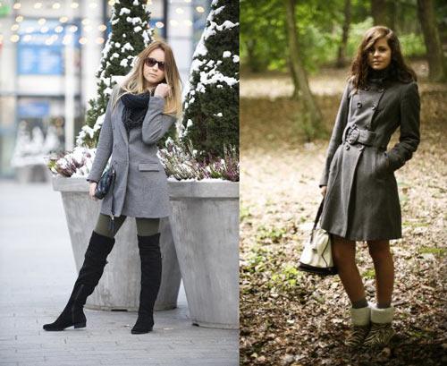 на фото девушка в сером пальто