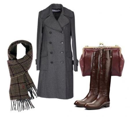 Не будет ли диссонировать серая фурнитура на пальто с золотисто-бронзовыми деталями на сумке и сапогах?