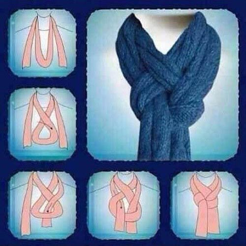 способ завязывания шарфа на пальто