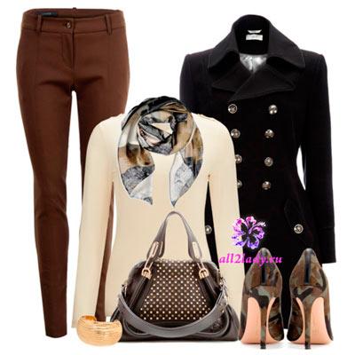 С чем носить коричневое и черное пальто