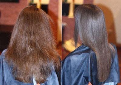 на этом фото эффект ламинирования волос