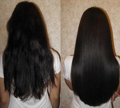 на фото волосы до и после выпрямления
