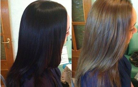 на фото смыт черный цвет волос до натурального